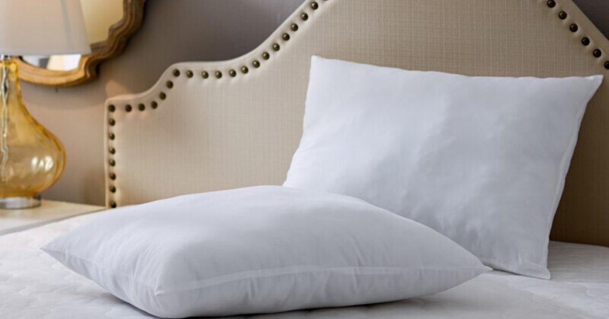 two pillows on a bed