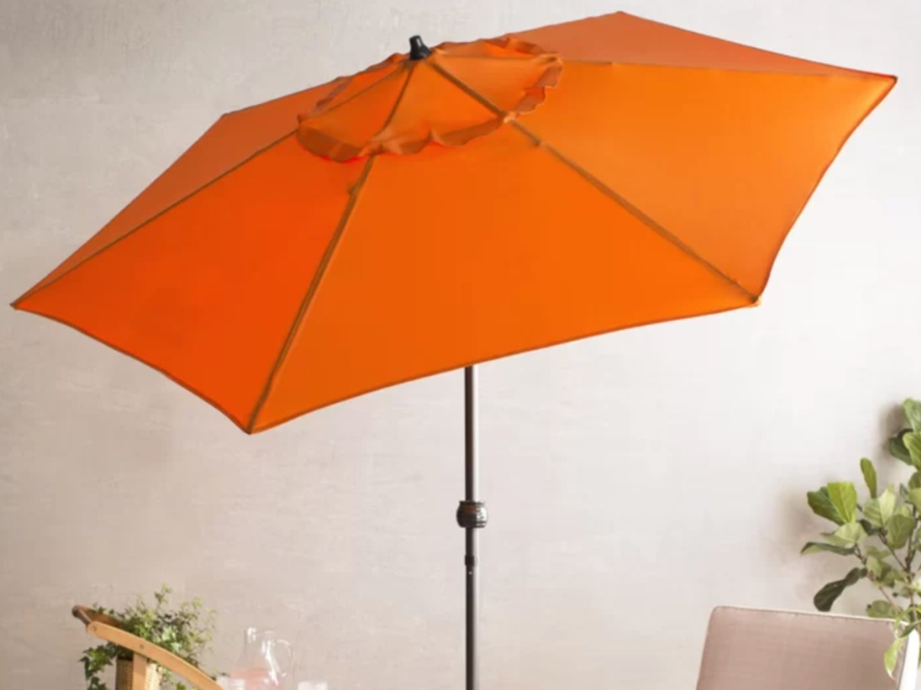large orange outdoor patio umbrella