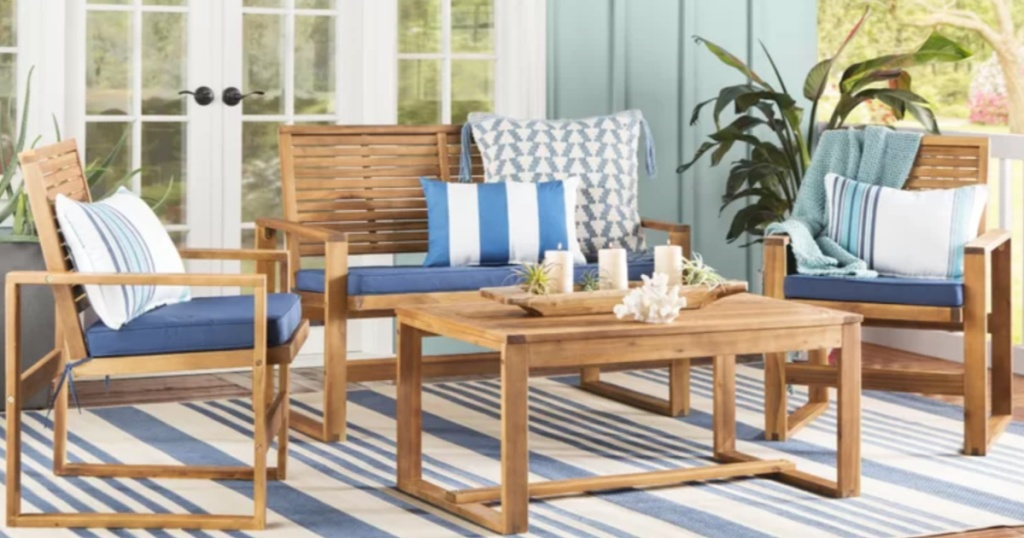 wooden outdoor patio conversation set