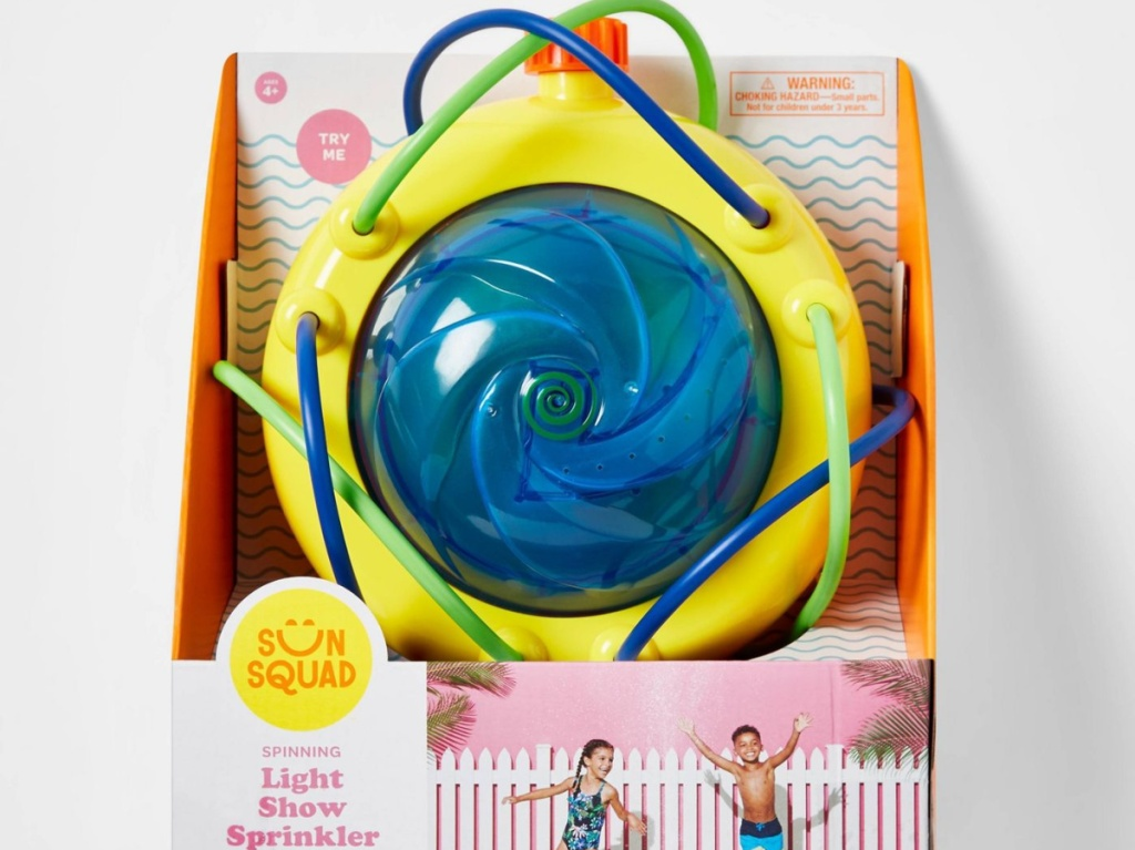 small blue, green, and yellow light up sprinkler machine