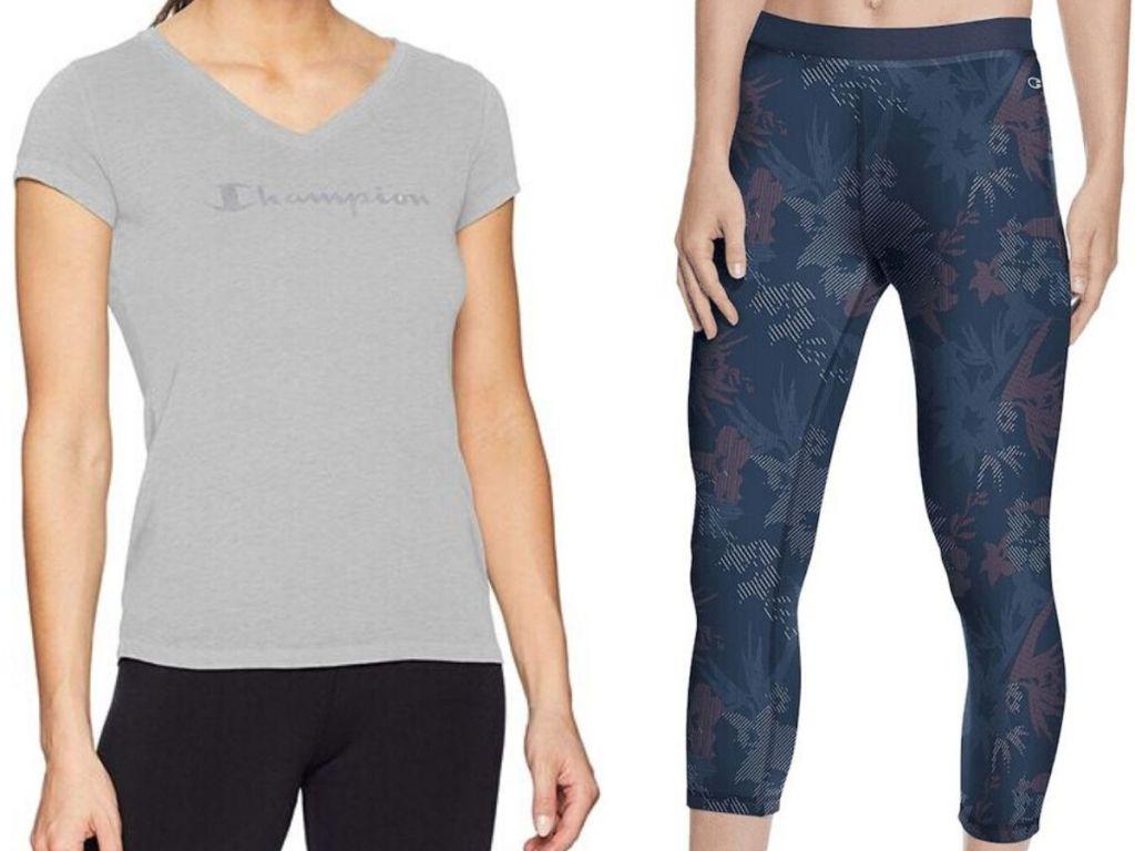 champion short sleeve v-neck t-shirt and workout leggings