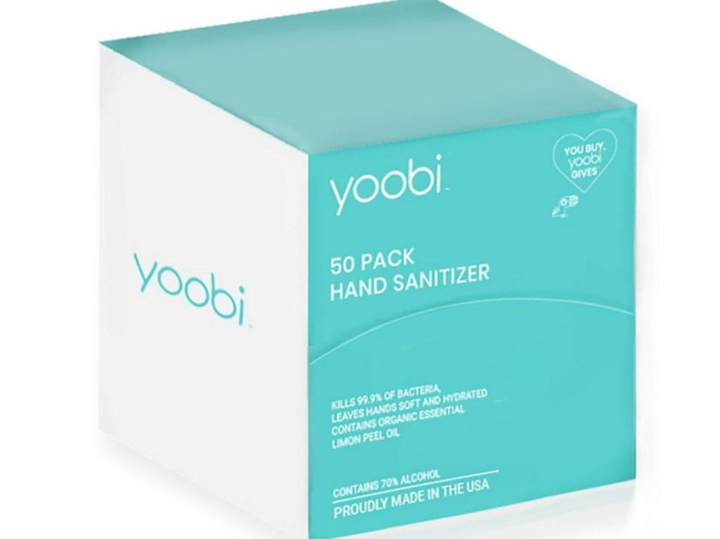 50-Count box of Yoobi Hand Sanitizer
