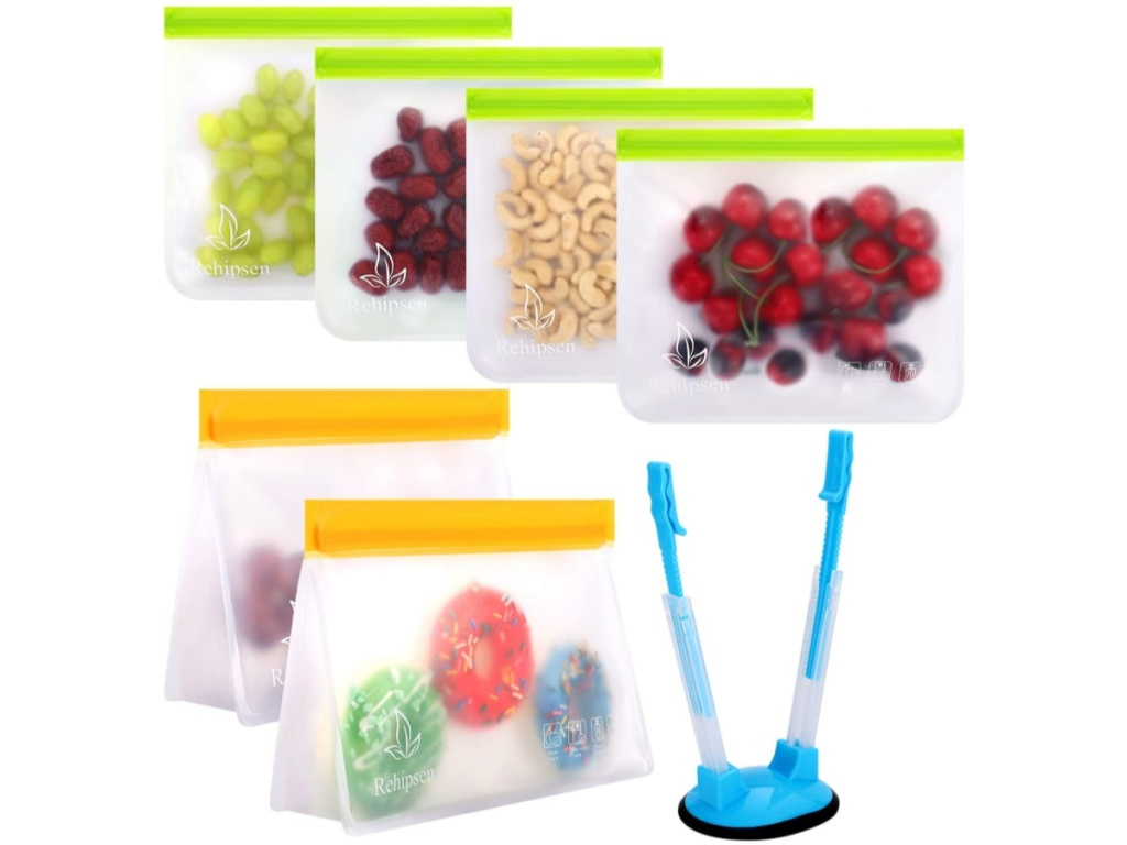 clear bags filled with food contents and blue bag holder