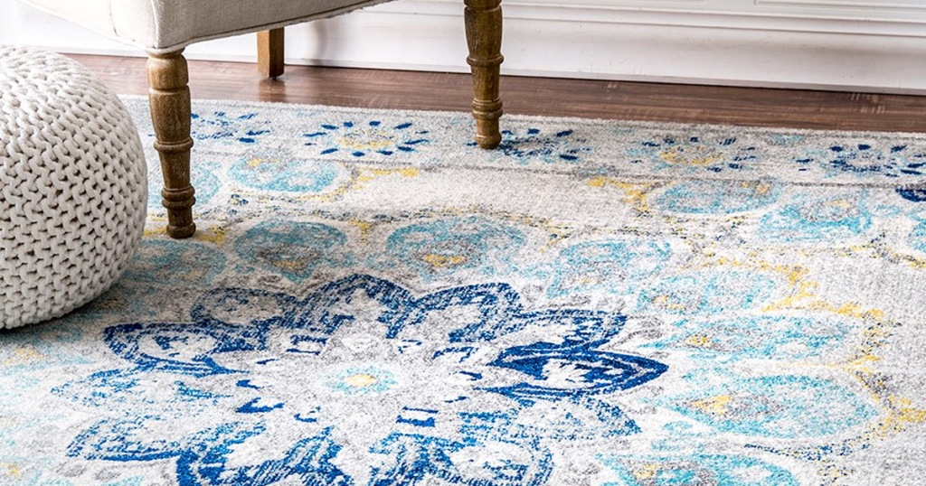 blue and teal floral print area rug