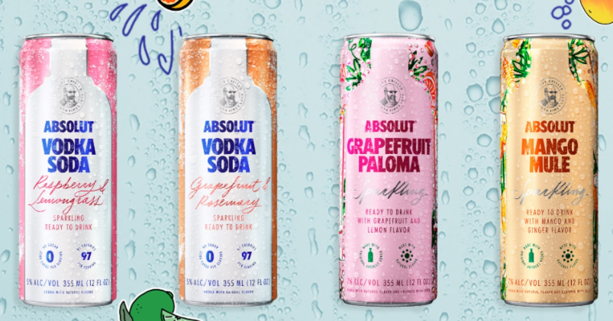 Absolute Vodka can drinks