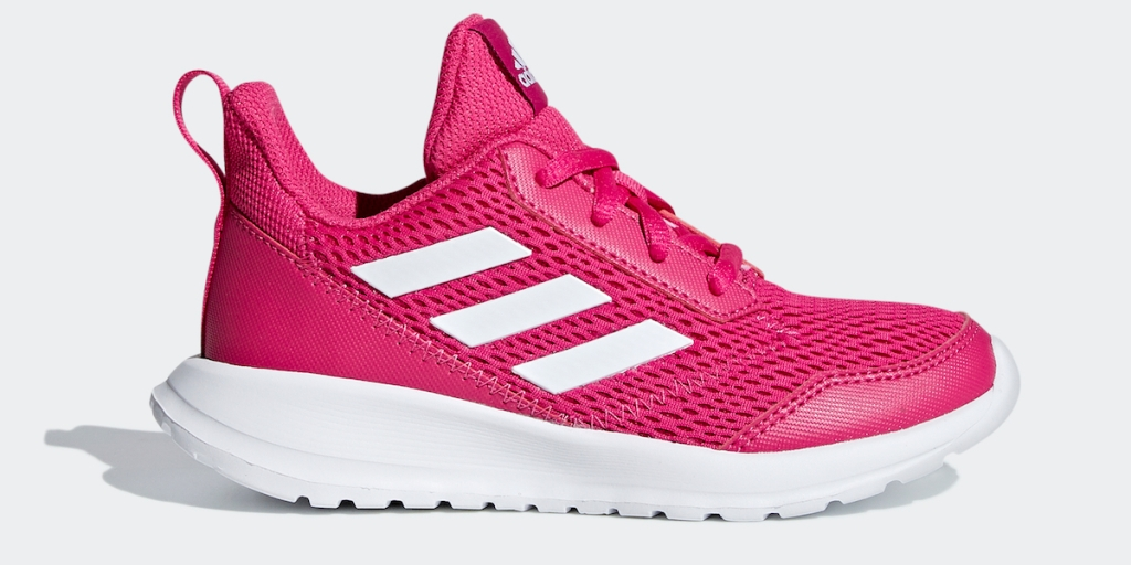 pink and white adidas sneaker