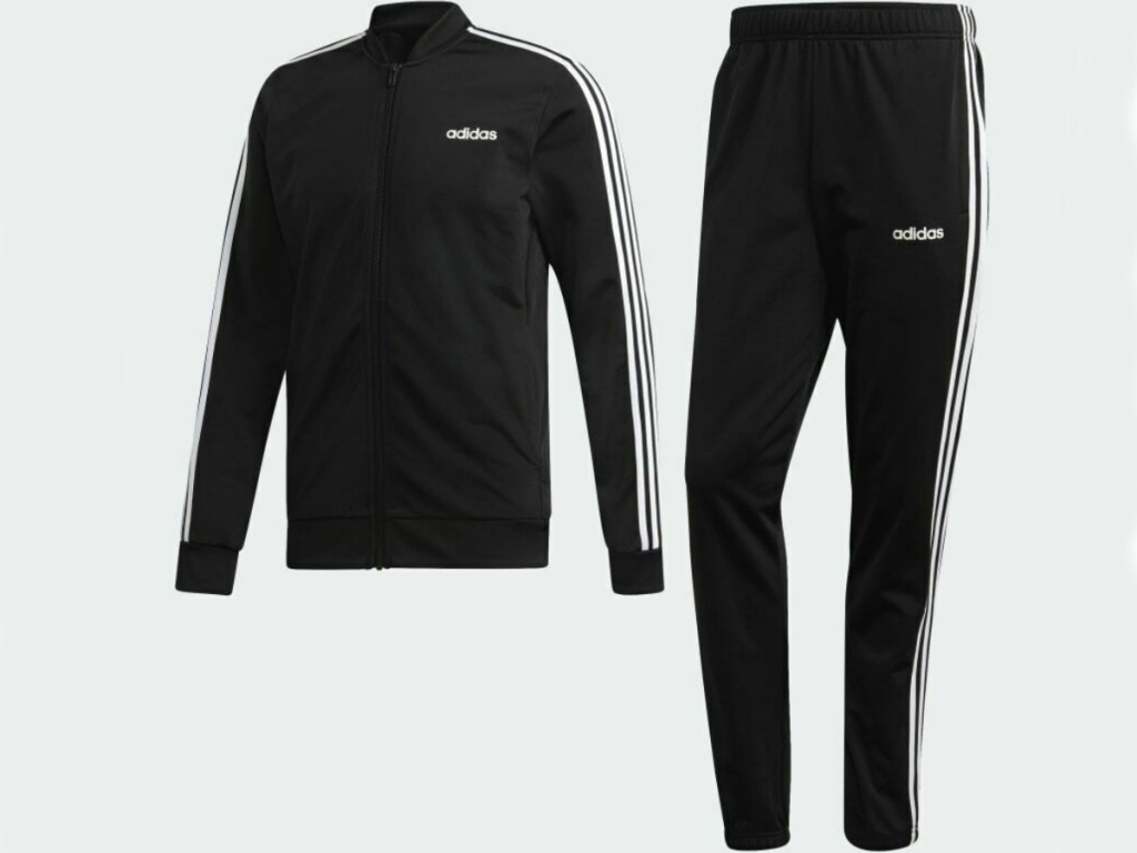 two piece adidas black trach suit with classic white stripes