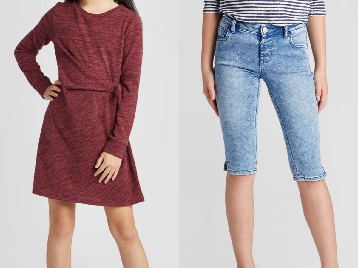 girl in burgundy dress and girl in capri jeans