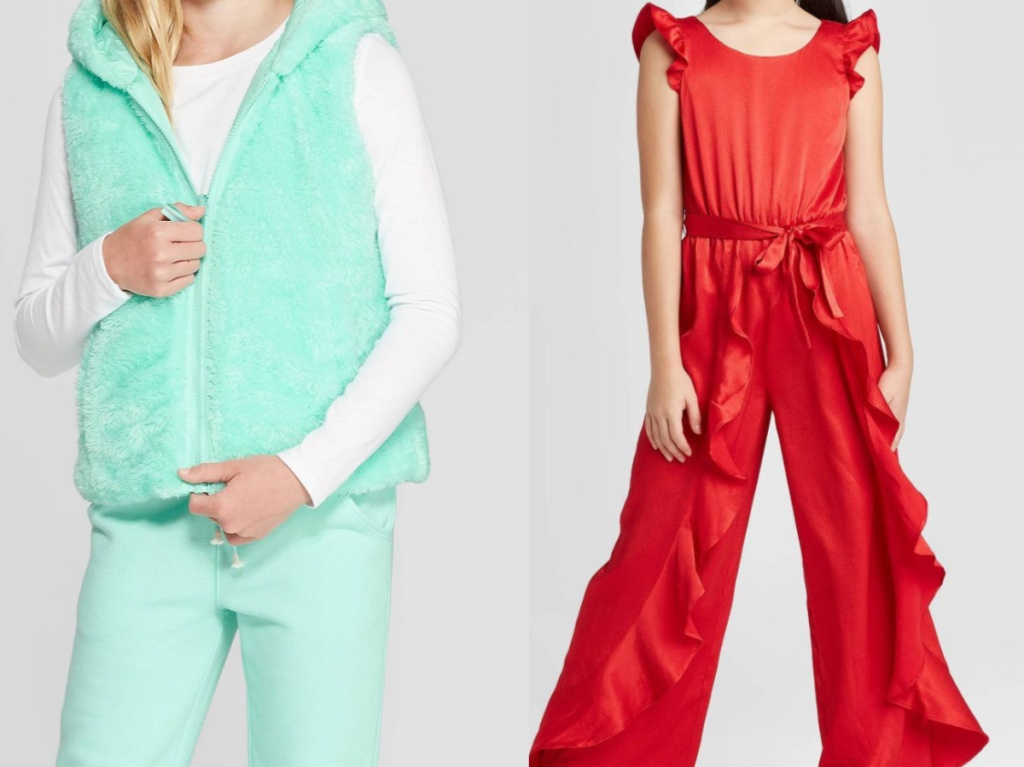girl in bright mint green pants and vest and girl in red ruffle jumpsuit