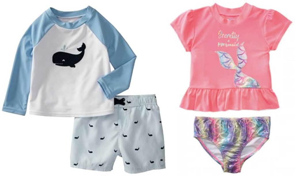 boys and girls rash guard sets swimwear