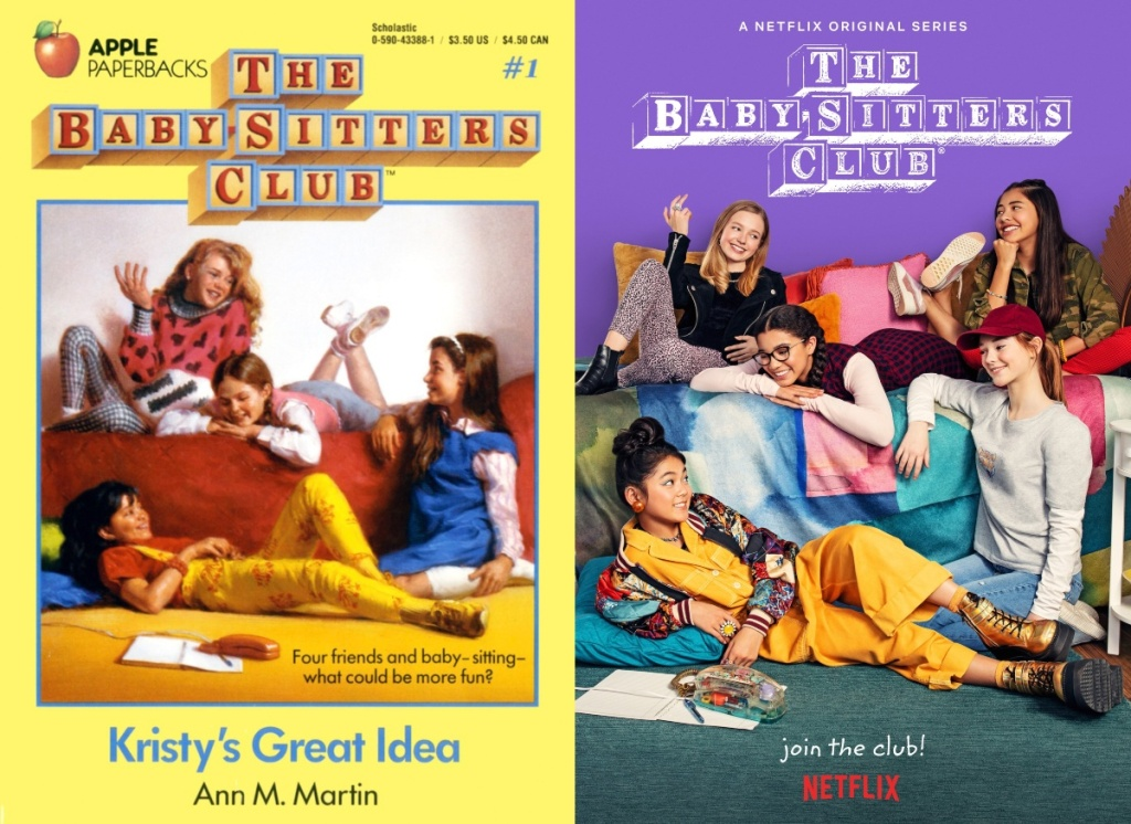 The Baby-Sitter's Club book cover next to Netflix poster