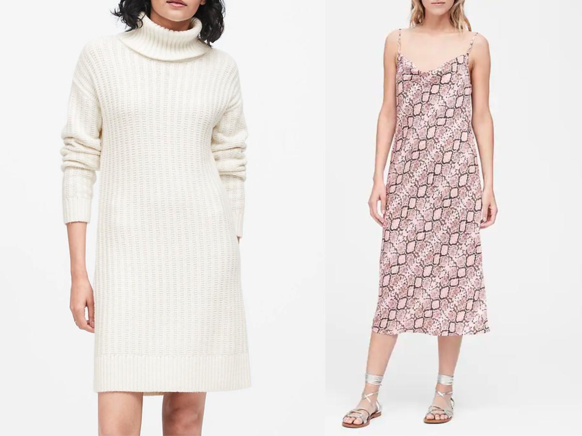 women wearing white sweater dress and pink snake print dress