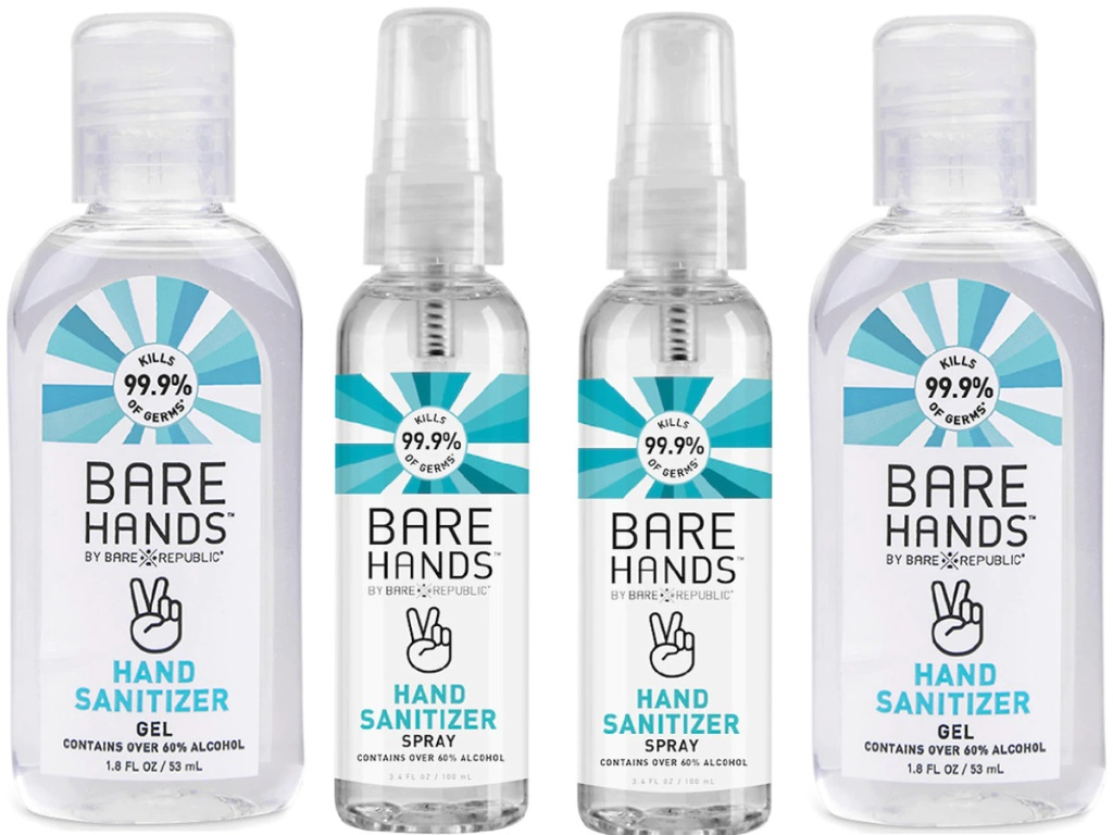 two bottles of bare hands hand sanitizer spray and two bottles of gel