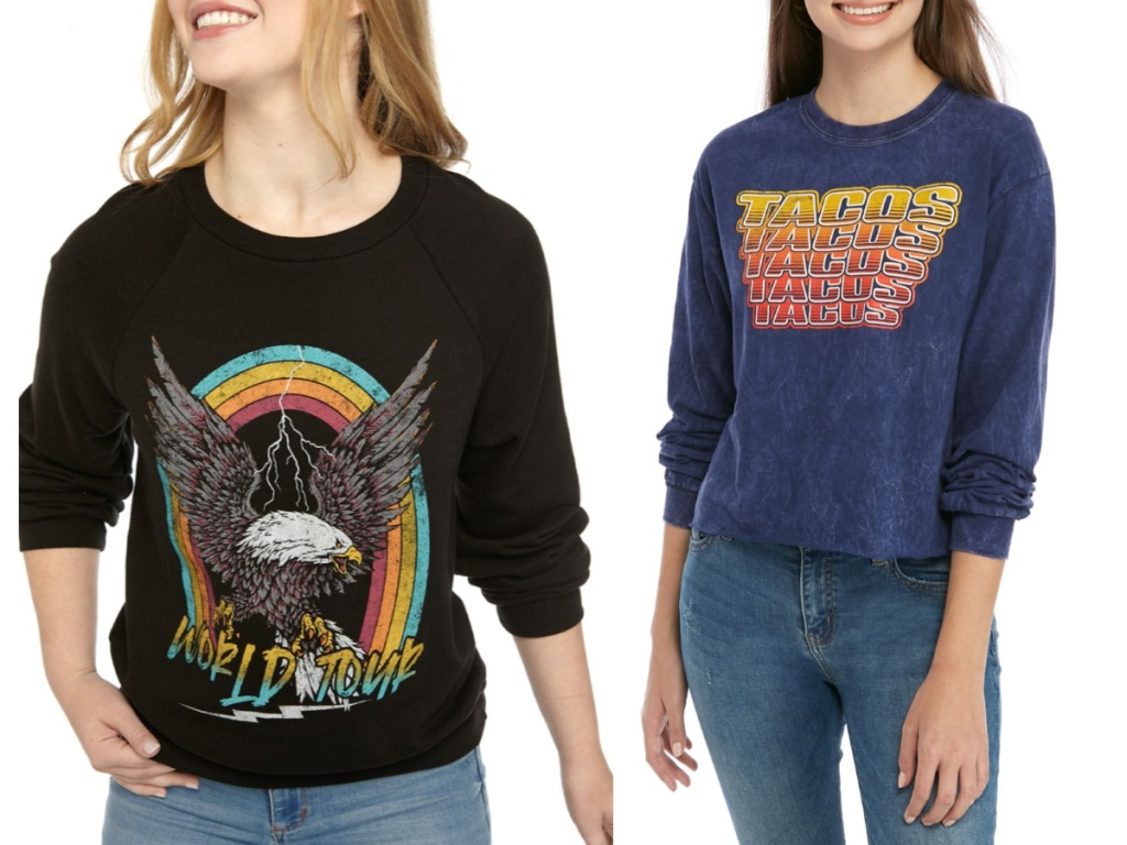 women wearing world tour and tacos graphic tees