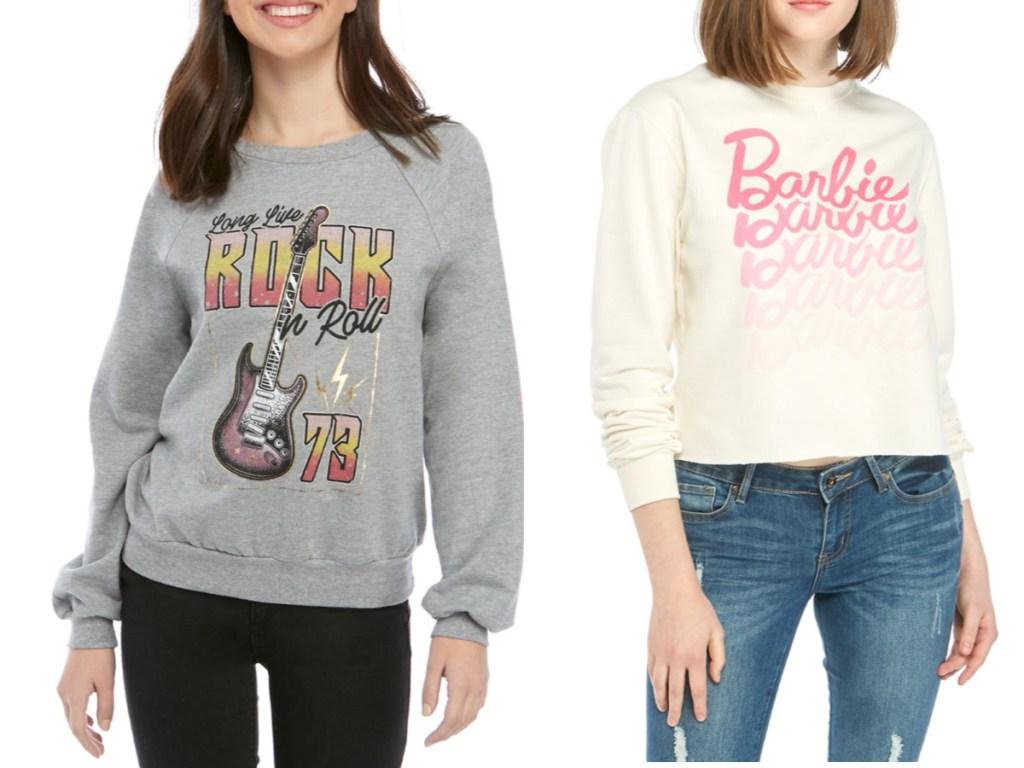 women wearing rock n roll and barbie graphic sweatshirts