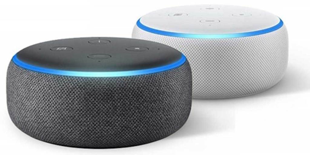 stock images of a white and black echo dot