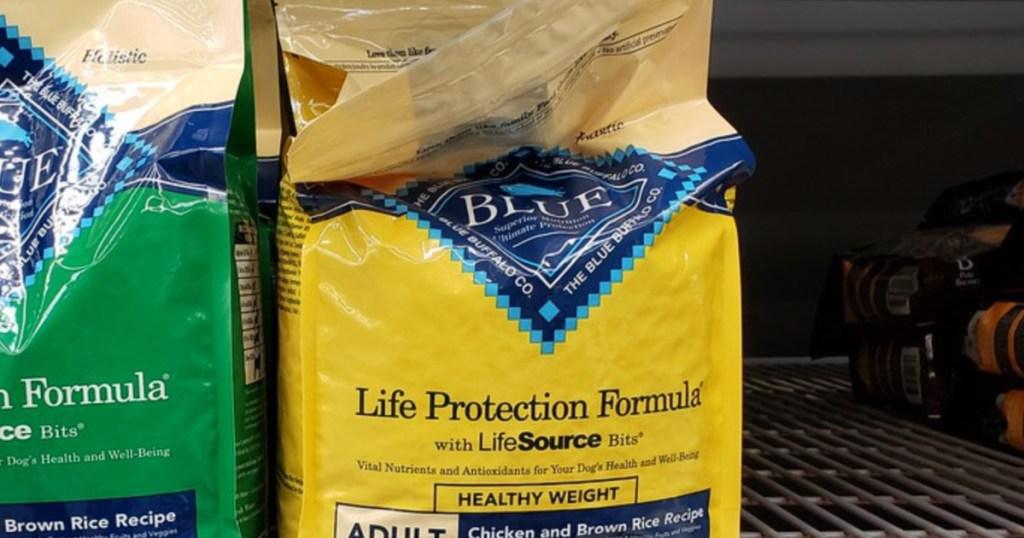 Blue buffalo life protection formula on shelf