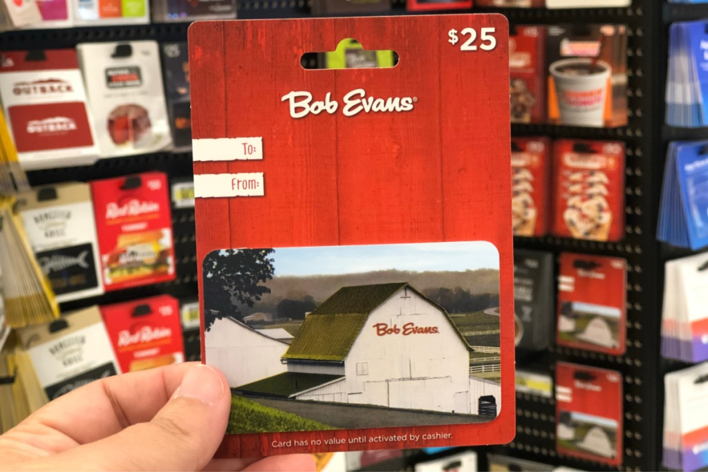 bob evans gift card in hand