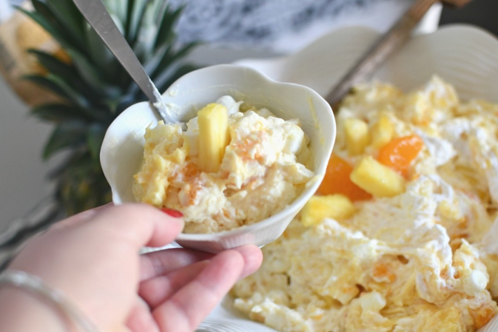 bowl of pineapple fluff salad