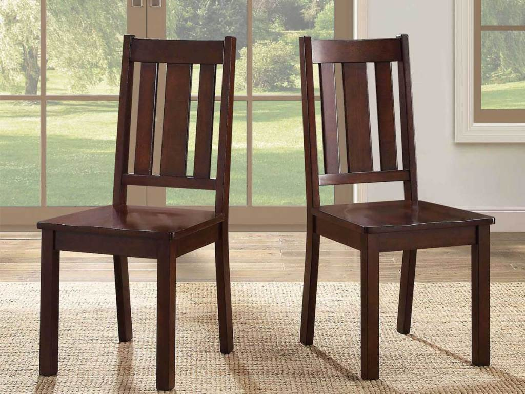 set of 2 dining room chairs in mocha