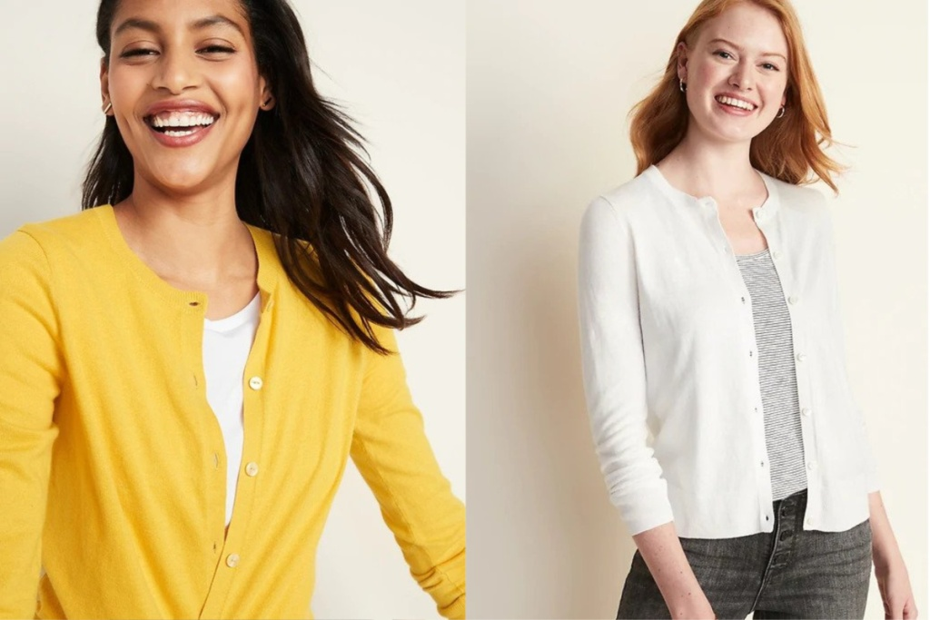 button cardigan old navy on two women