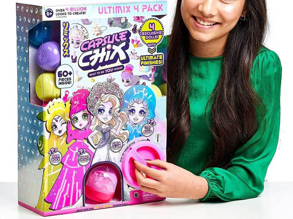 girl playing with capsule chix 4 pack