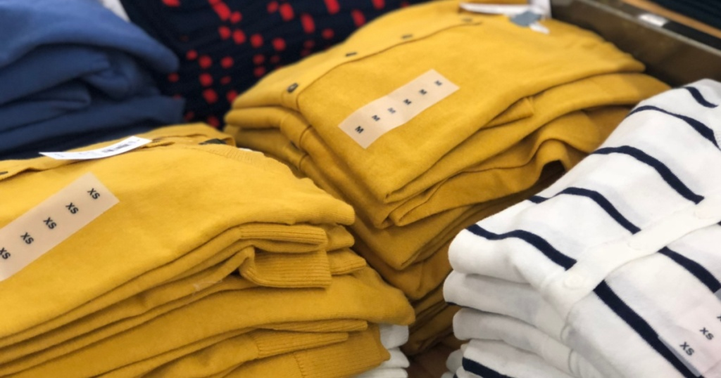 cardigans folded at old navy