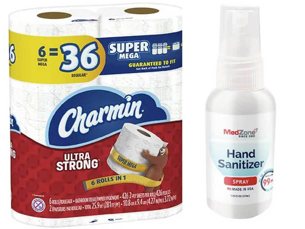 charmin toilet paper and hand sanitizer stock images