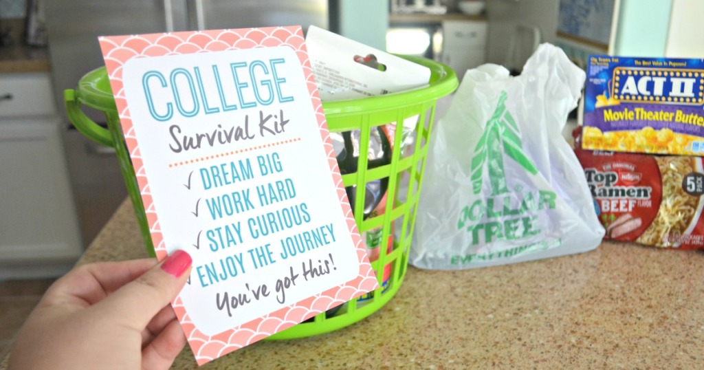 College Survival Kit card and hamper filled with goodies