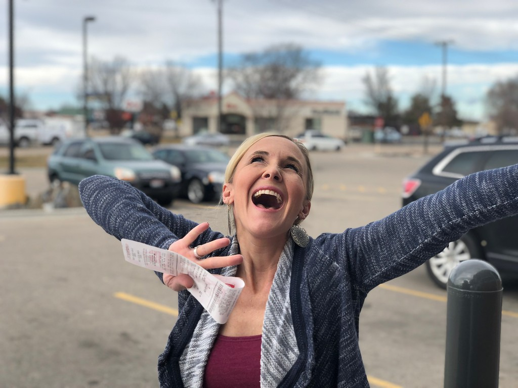 woman excited about deals