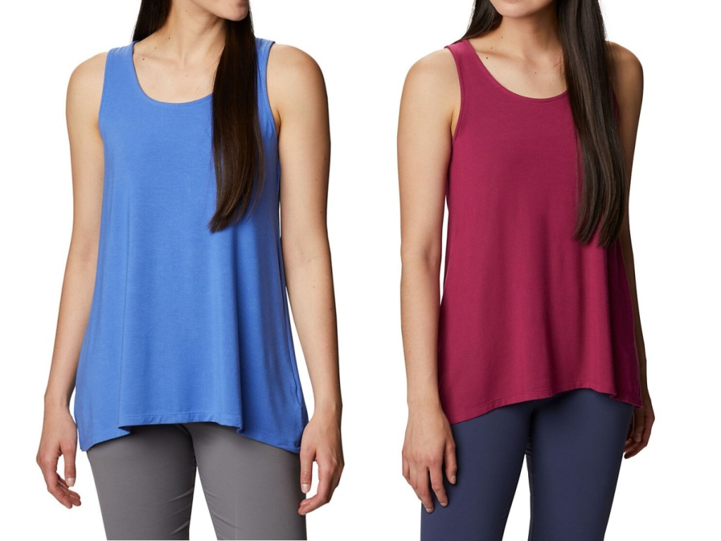 blue and maroon tank top