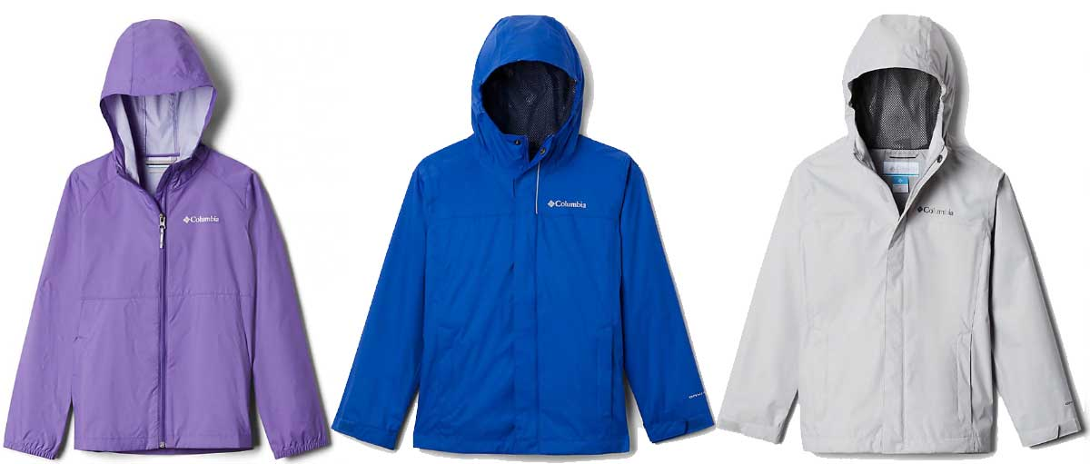 kids rain jackets in three colors purple blue and gray