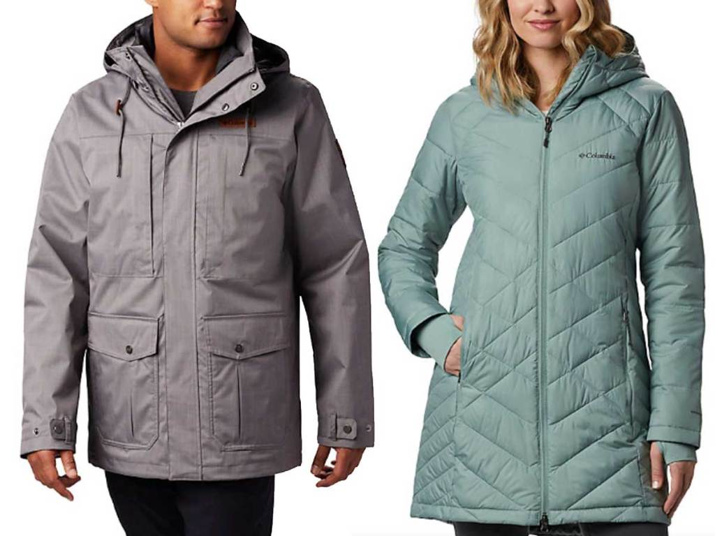 men and women winter rain jackets in gray and mint green