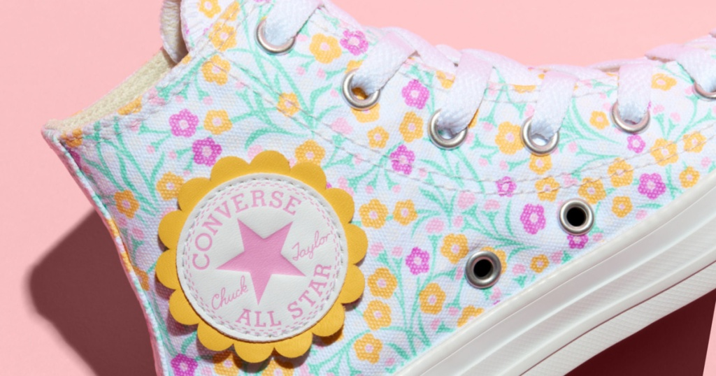 converse floral slanted shoe zoomed in
