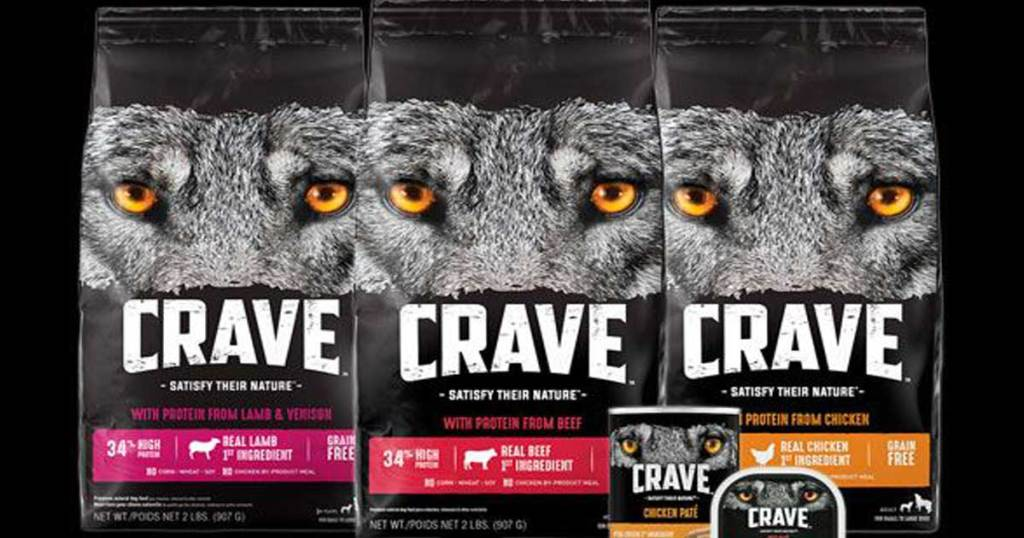 crave dog food in three flavors
