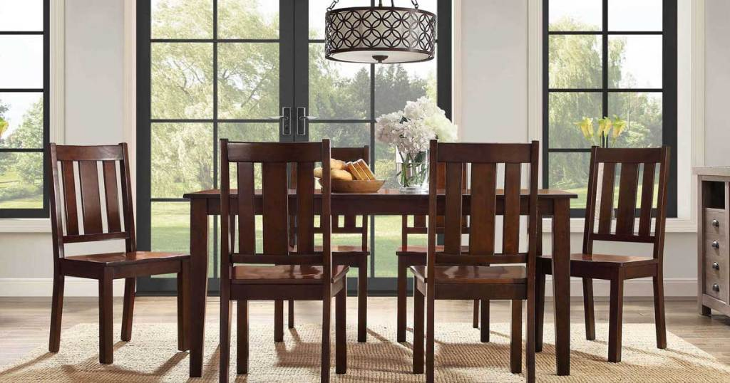 dining room set in mocha in a dining room