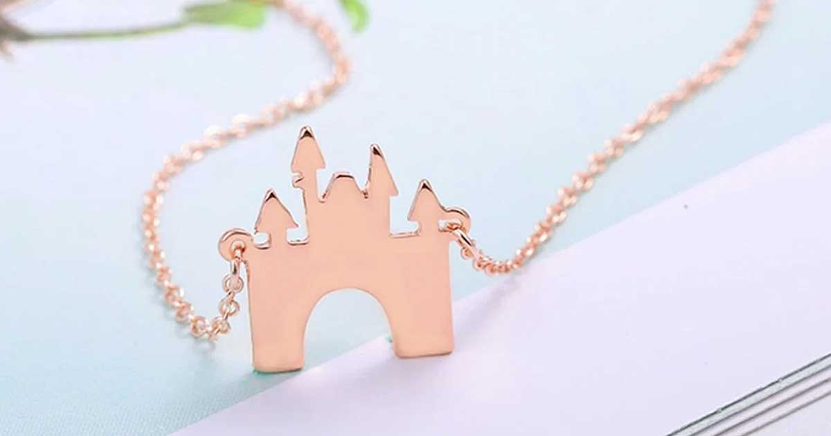rose gold colored disney inspired castle necklace