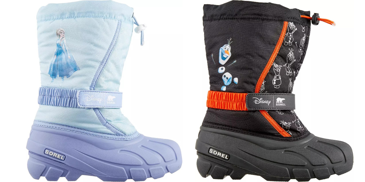 disney snowboots one elsa one olaf side by side