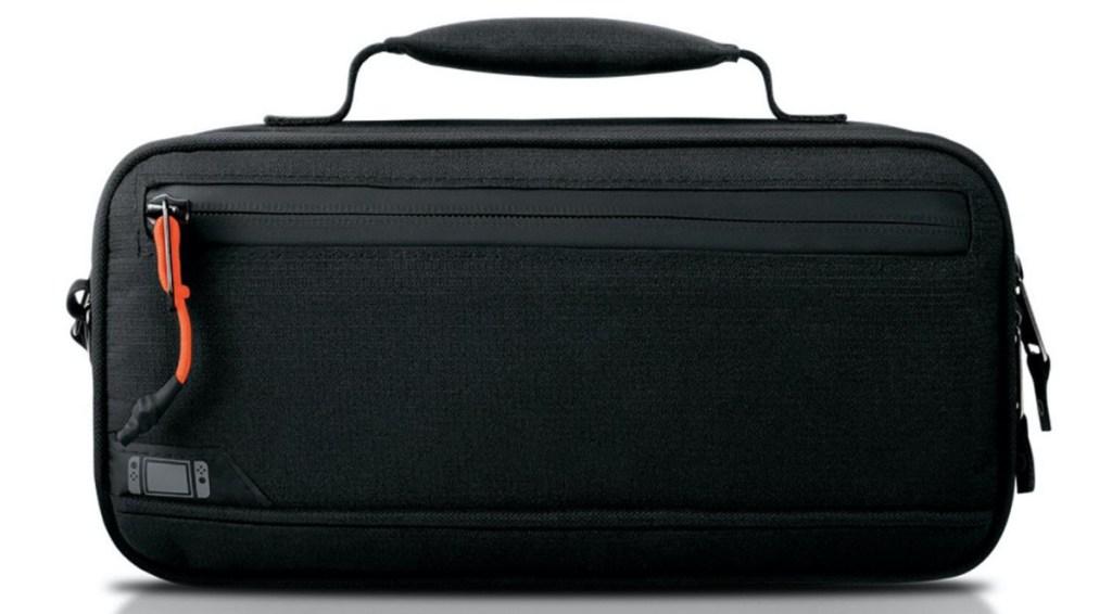 black handheld gaming console case