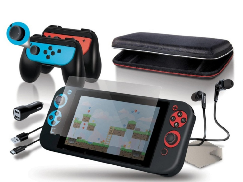 black handheld gaming console case with accessories