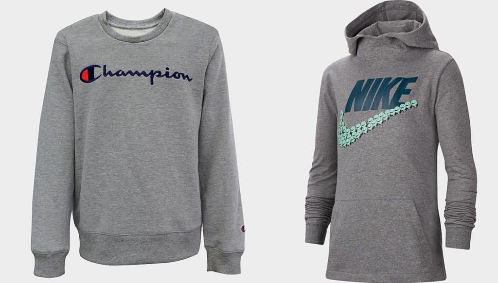 champion logo gray sweatshirt and nike logo gray sweatshirt