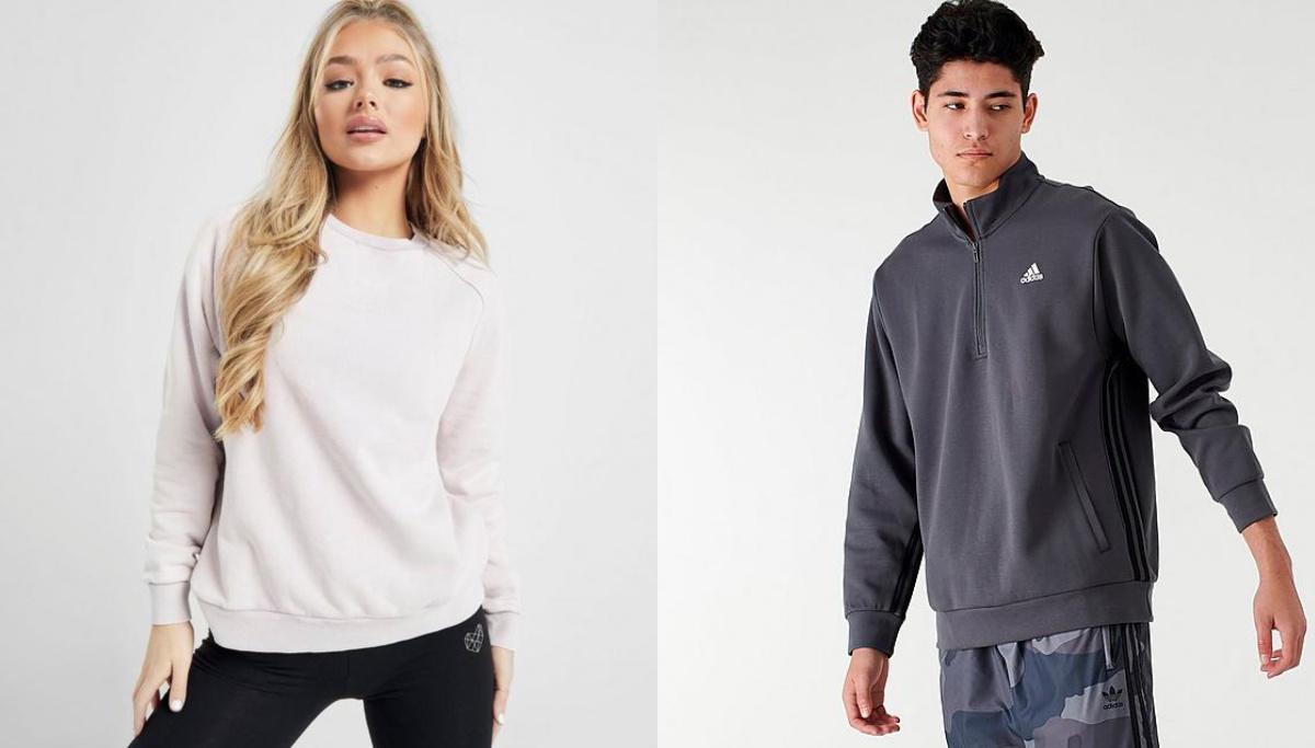 woman wearing pink sweatshirt and man wearing blue adidas sweatshirt