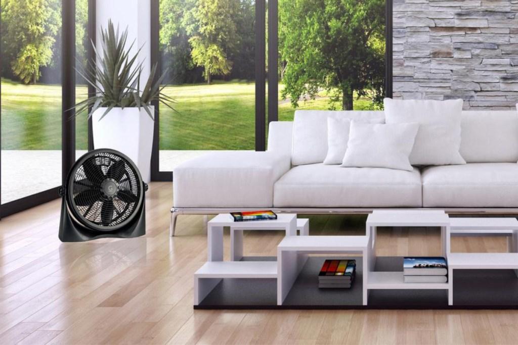 genesis floor fan in living room