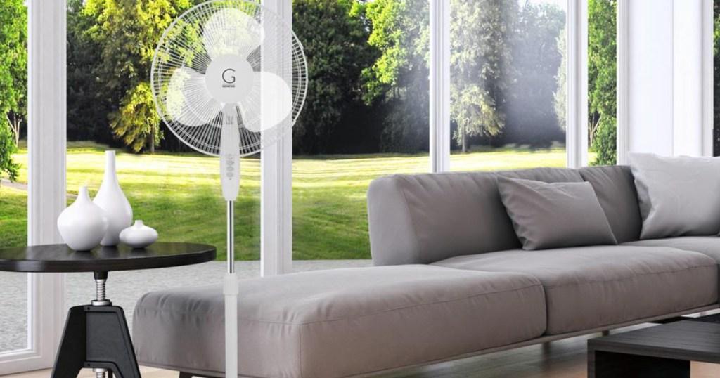 genesis white fan in living room