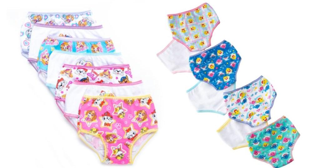 paw patrol and baby shark girls underwear