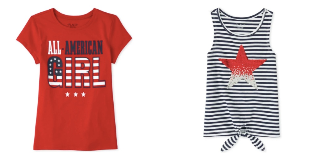 girls tops the childrens place red white and blue tops