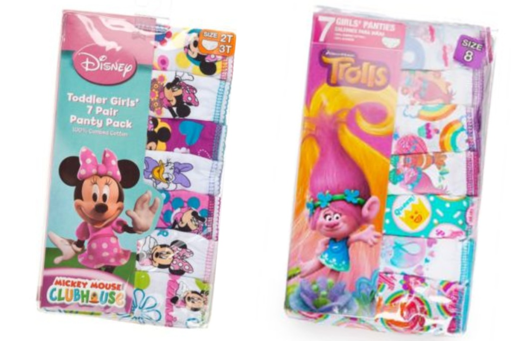 minnie mouse and trolls girls underwear