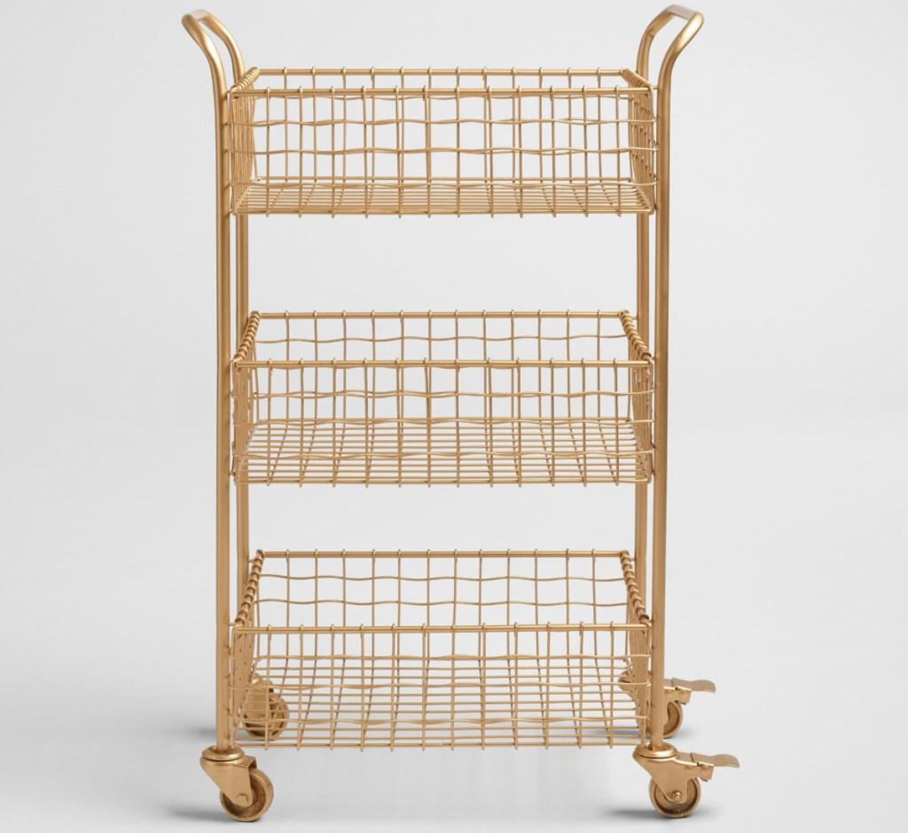 gold wire rolling storage cart 3-tier