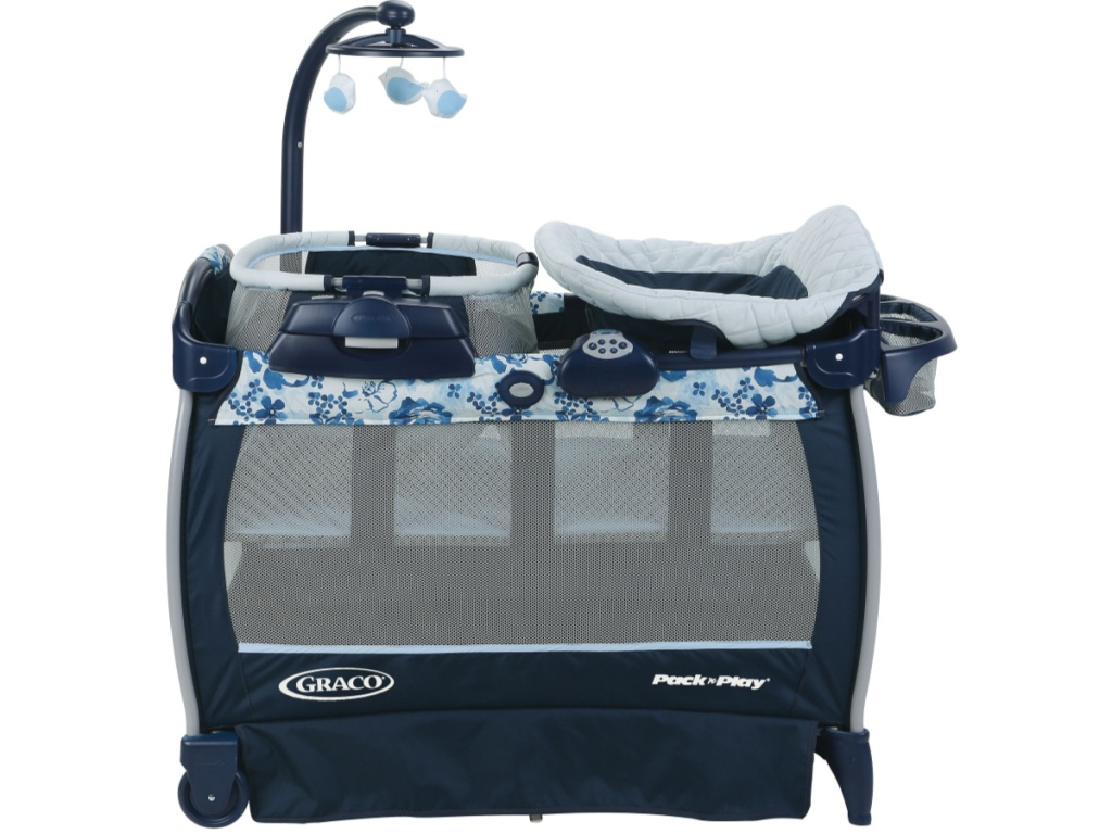 blue and flower graco pack n play