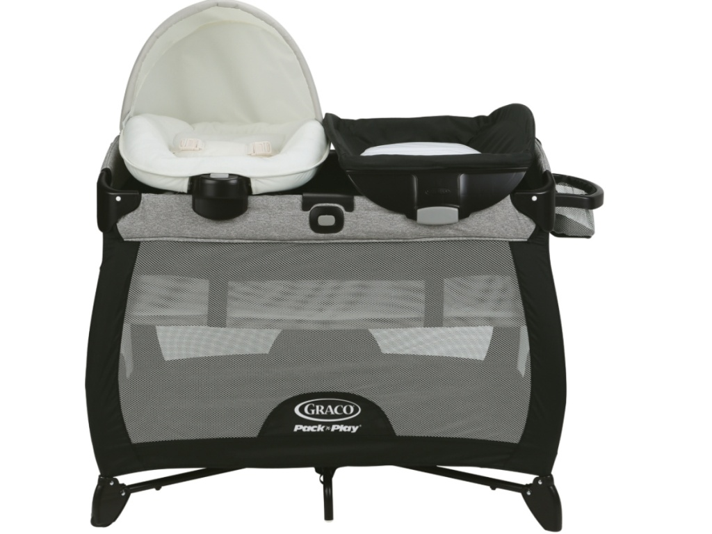 graco pack n play black and gray